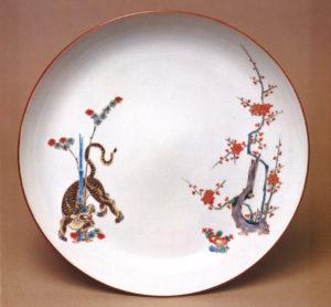 柿右衛門様式 竹虎梅図皿 1680年